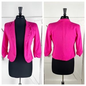 UO Sparkle & Fade Crop Jacket w/Shirred Sleeves